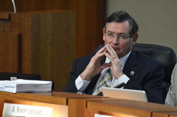CSU chancellor Timothy P. White listens to a presentation at the CSU Board of Trustees meeting on Nov. 4.  Photo credit: Alex Vejar / Daily Sundial
