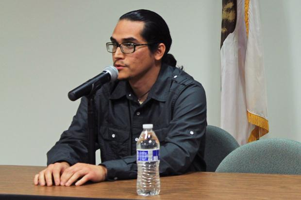 "Documentarian, Miguel Duran, presented his film ""Unrest: Founding of the Cal State Northridge Chicana/o Studies Department"" in the Jack and Florence Presentation Room in the Oviatt Library on Thursday evening. Photo credit: Lauren Reyes / Contributor"