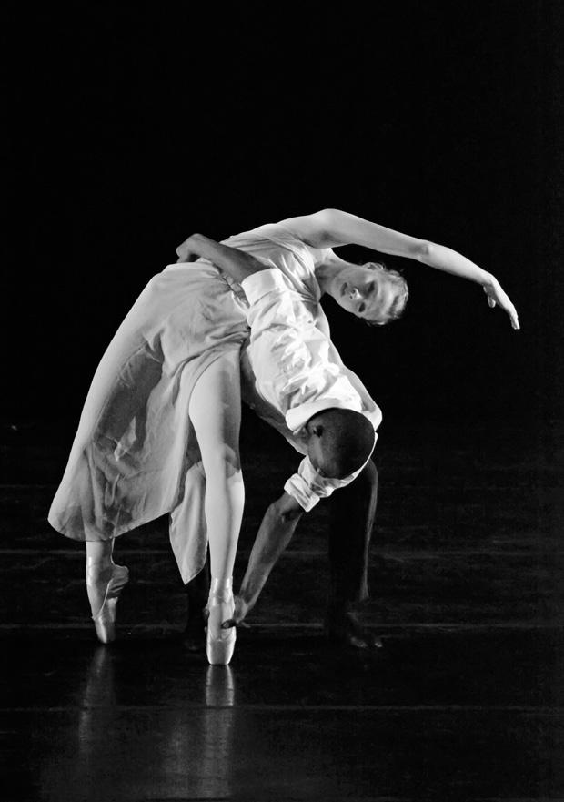 Two dancers perform intricate forms of choreography in Colaboratoria, a graduate student and faculty dance concert, at the Plaza Del Sol Performance hall on Nov. 6. Photo credit: John Saringo-Rodriguez / Photo Editor