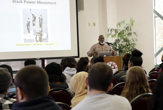 Akinyele Umoja, Georgia State University department chair of African-American studies and author of We Will Shoot Back, stressed the value of ethnic studies to achieve a balance in American society and politics. Photo credit: Won Choi / Daily Sundial