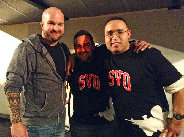 Comedian Jon Stites, a Student Veteran Organization (SVO) peer mentor, David Guzman, and SVO vice president, Tomas Diaz  celebrate Operation Comedy at CSUN's Pub Sports Grill Friday evening. Photo credit: Michelle Dominguez