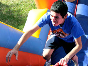 Students 'Beat the Blues' on inflated obstacle course