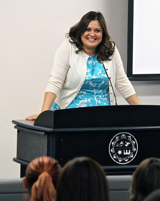 "Angelica McDaniel, senior vice president of Daytime CBS Entertainment, speaks to CSUN students during ""Insights into the Making of a Really Great Career,"" at Nordhoff Hall on Thursday. Photo credit: Lucas Esposito / Daily Sundial"