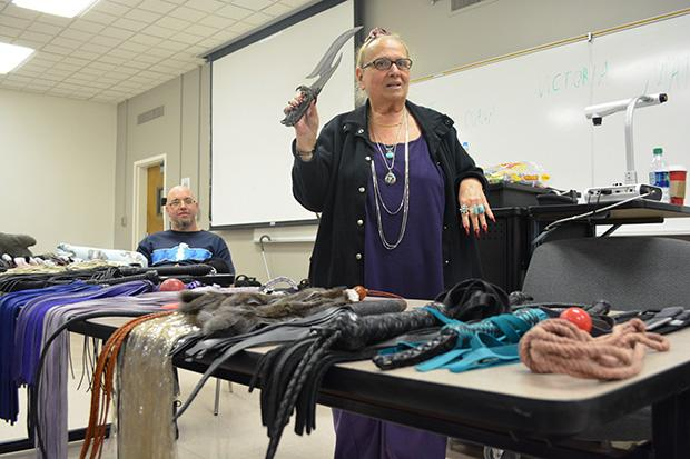 Retired school teacher and therapist, Diana Dee (Right), has been in the BDSM lifestyle for over 25 years. Count Boogie (Left) and Dee were a panelists for a BDSM presentation for a Human Sexuality class on Dec. 6. Photo credit: John Saringo-Rodriguez / Photo Editor