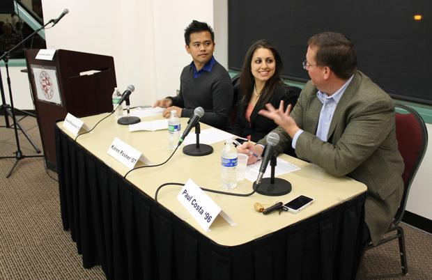 CSUN alumni David Mascarina (Left), Karen Posner (Middle) and Paul Costa (Right) were the panel of social media experts for the event at the USU. Photo credit: Abigaelle Levray / Daily Sundial