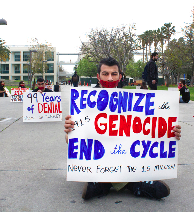 Members from CSUN's Armenian Students Association participated in the Stain of Denial silent protest for the Armenian Genocide on Jan. 30. Photo credit: Trevor Stamp / Daily Sundial