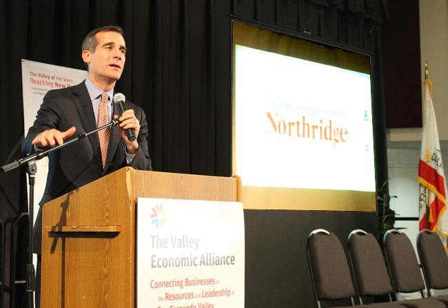 Los Angeles Mayor Eric Garcetti came to speak at a luncheon commemorating the 20th anniversary of the Northridge Center on Jan. 17, 2013 in Northridge, Calif.