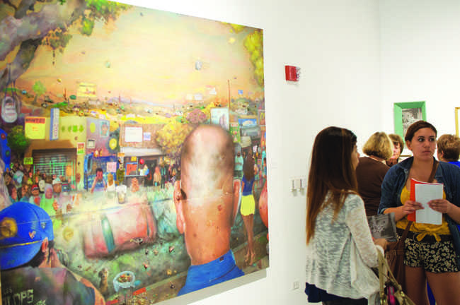 Students filled the CSUN Art Gallery to hear artists talk about their self-portraits