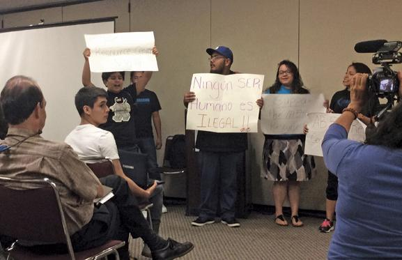 gabriela rodriguez/ daily sundial DREAMers perform a skit to show what undocumented students face living in the US as part of panel discussion presented by the Central American studies department on April 29. (Photo Credit: Gabriela Rodriguez / Daily Sundial)