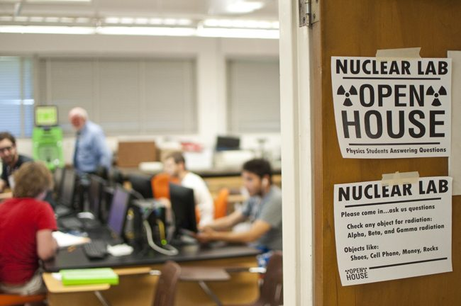 Students test items in radiation lab on campus
