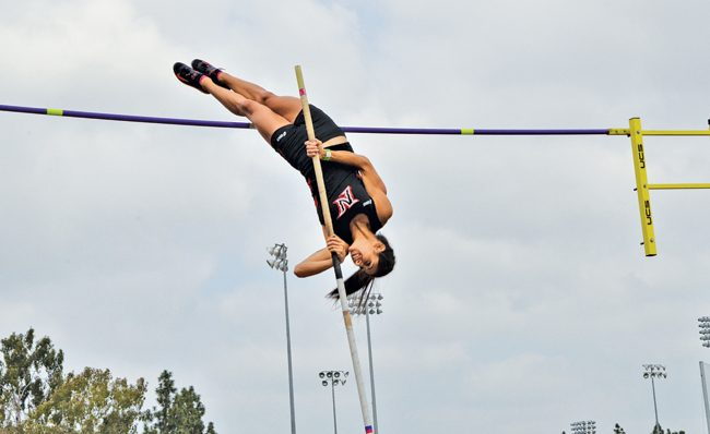 The Matadors finished first and second in the women's pole vaulting event, as two Matadors tied with 3.85 meters cleared. Photo Credit: Vincent Nguyen / Contributor