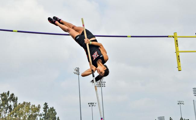 The+Matadors+finished+first+and+second+in+the+women%27s+pole+vaulting+event%2C+as+two+Matadors+tied+with+3.85+meters+cleared.+Photo+Credit%3A+Vincent+Nguyen+%2F+Contributor