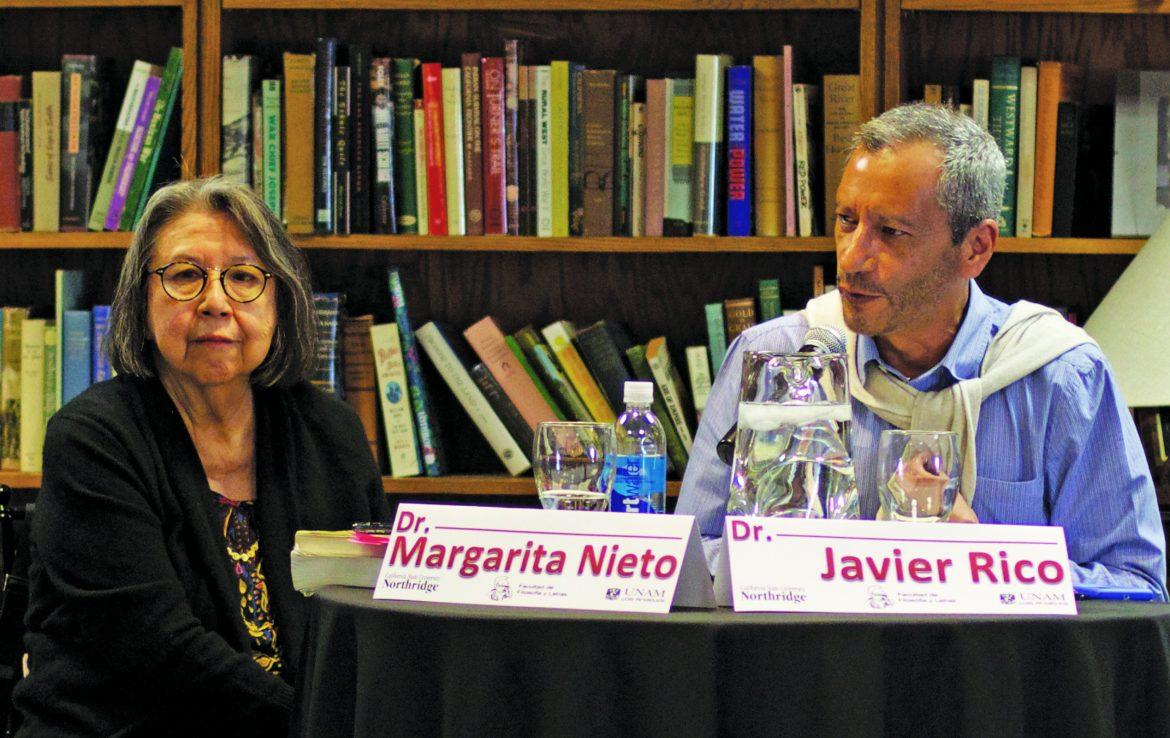 Margarita Nieto, professor of Chicana/o studies, and Javier Rico, a professor from UNAM, speak at an event commemorating Octavio Paz, a Mexican writer. This was the first event of the CSUN-UNAM partnership and the Center for Mexico and Latin American studies. File photo/Daily Sundial