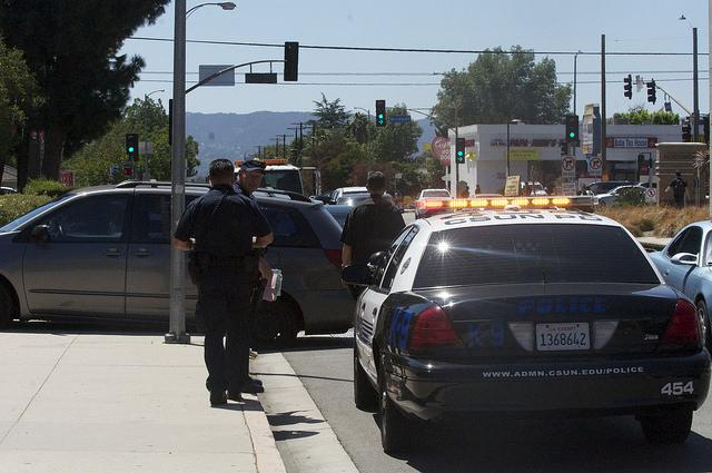 The CSUN Police Department arrived on the scene of a Toyota minivan that crashed on Lindley Avenue near the VPAC loading dock. The suspects fed the scene and were later apprehended by CSUN PD. Photo credit: Calvin Ratana/Opinion Editor
