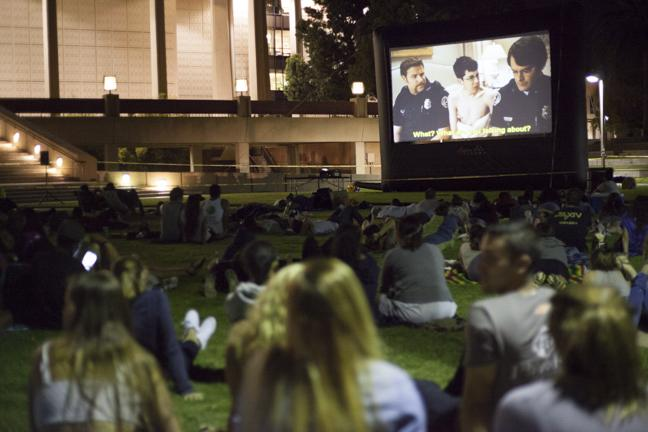 The feature film Superbad was shown on the screen in front of the Oviatt Library on Thursday, August, 28, 2014 in Northridge, Calif. Photo Credit: David J. Hawkins/Sundial