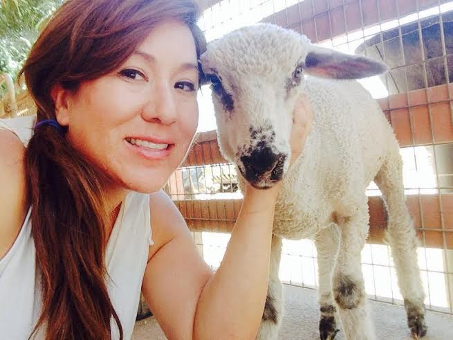 Courtesy of Linda Alvarez - Alvarez visits Farm Sanctuary's Animal Acres. She often takes her students on field trips to the sanctuary to meet animals that have been rescued from slaughterhouses.