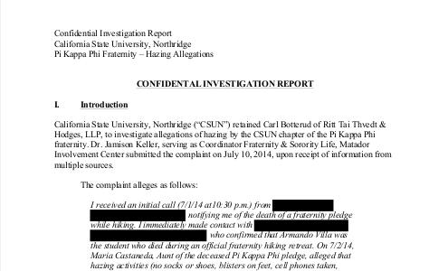 CSUN Zeta Mu Hazing Investigation  - full report