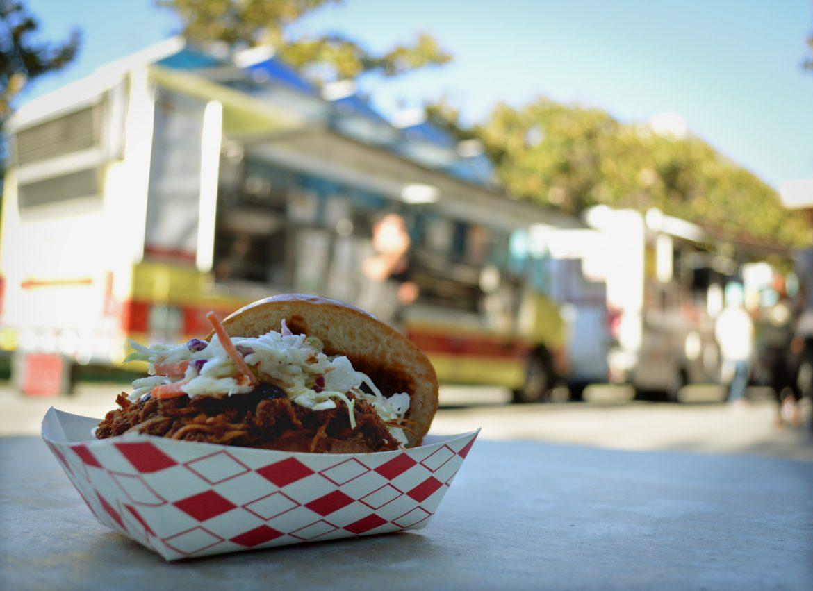 A+spicy+pulled+chicken+slider+from+Smokin%27+Willie%27s+BBQ+is+just+one+yummy+menu+items+from+the+Food+trucks+at+CSUN+Dines.+Associated+Students+Organization+put+together+CSUN+Dines+at+Bayramian+Lawn+Tuesday+late+afternoon+to+allow+to+intermingle+while+enjoying+a+variety+of+food+not+offered+on+campus.+Tocky%27s+Pitas%3B+Kona+Ice+and+Slanging+Corea+food+truck+were+also+present+for+the+event.