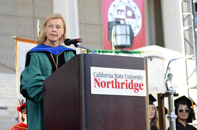 CSUN President Dianne F. Harrison addresses the 2014-15 freshman class during the Freshman Convocation ceremony on Thursday, Sept. 4, 2014 on Oviatt Lawn. Photo Credit: Alex Vejar/ The Sundial