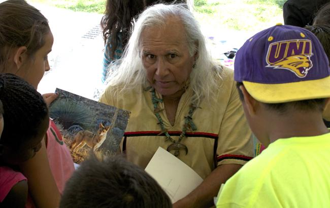 During the California Indian Day held at the Sierra Quad, Alan Salazar, Chumash/Tataviam Storyteller and traditional paddler tells stories to elementary school children. Frank Perez, teacher from Calahan Community Charter had his class learn the importance of the fox in Native American culture. Photo Credit: Adrian Go/ Contributor