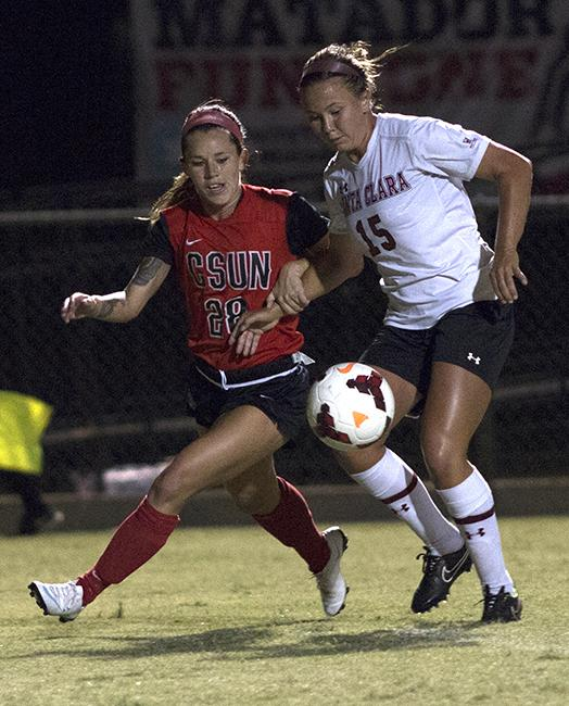 Junior Lyndsey Preston jostles for the ball inside the keepers box during Friday night's game against the Santa Clara Broncos. Despite having fourteen shots, five on goal, the Matadors were unable to dial one in, losing to the Broncos 1-0. Photo credit: Trevor Stamp/ The Sundial