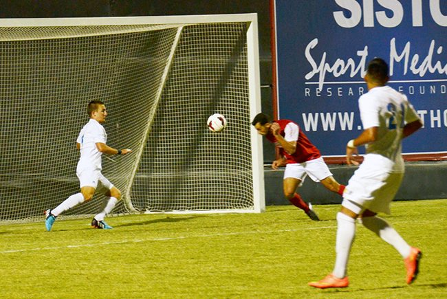 Senior forward Sagi Lev-Ari heads the ball towards goal only to have a CSU Bakersfield defender deny him of scoring. Another CSUB defender would gift the Matadors a penalty kick seconds later. CSUN ultimately scored their penalty kick and won the game 2-1 after double overtime. Photo Credit: Vince Nguyen/ The Sundial