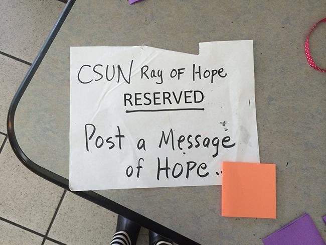 CSUN%27s+Ray+of+Hope+Project+wants+to+start+and+continue+the+conversation+about+suicide+into+the+school+and+greater+community.+Photo+Credit%3A+Jessica+Ferrufino%2FContributor