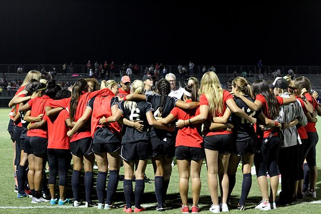 The Matadors huddle up in celebration after their first home win 1-0 this season against Gonzaga. Their next home game will be this Sunday against San Diego. Photo Credit: Trevor Talan/ The Sundial