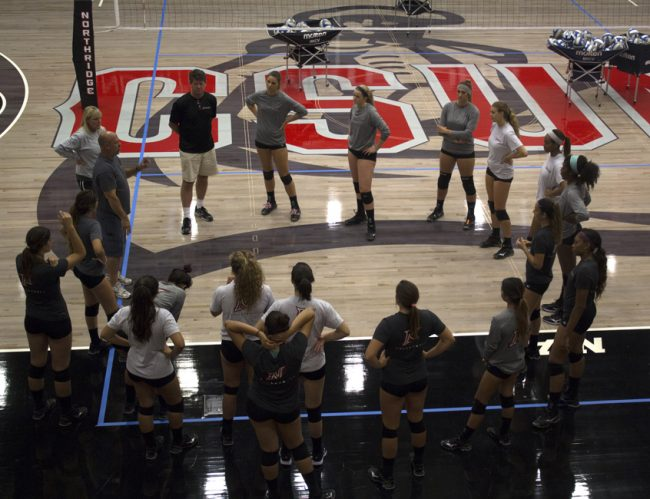 "The women's volleyball team has their eyes set on a conference title after winning the Big West championship last season, and earning a top five conference ranking.  ""[Women's volleyball team] are very focused, very dedicated, they stick by each other and I am excited for this season,"" said head coach, Jeff Stork. Photo credit: Trevor Stamp/The Sundial"