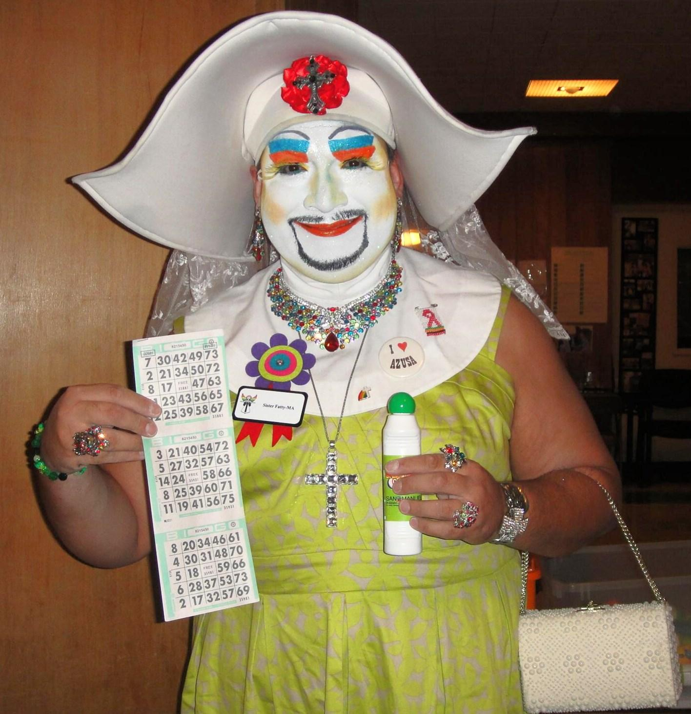 Sister Fatty-Ma, of the Sisters of Perpetual Indulgence, at a charity bingo event at the Westminster Presbyterian Church in Pasadena.