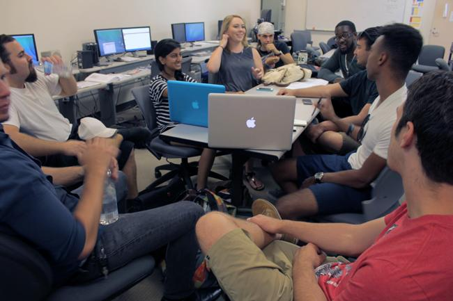 Crew production meeting is held. Senior film projects are done every year and are presented to professor Nate Thomas amongst others. Photo Credit: Victor Obietikponah/ Contributor