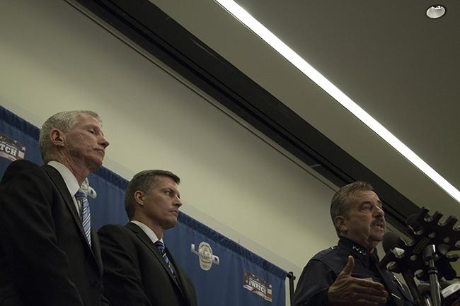 From left, LAPD Capt. Billy Hayes, F.B.I. Special Agent Terry Wade  and LAPD Chief Charlie Beck held a press conference to address the investigation into the death of CSUN student Abdullah Alkadi on Oct. 20, 2014. Alkadi went missing on Sept. 17, 2014, and his body as found in Palm Desert on Oct. 16, 2014. Photo credit: Trevor Stamp