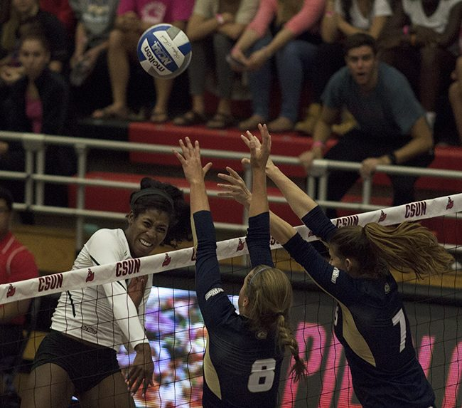 Junior Danetta Boykin had 17 kills and 40 total attacks for the Matadors in their Friday night matchup with the UC Davis Aggies. The Matadors fell to the Aggies in the fifth set. Photo credit: Trevor Stamp