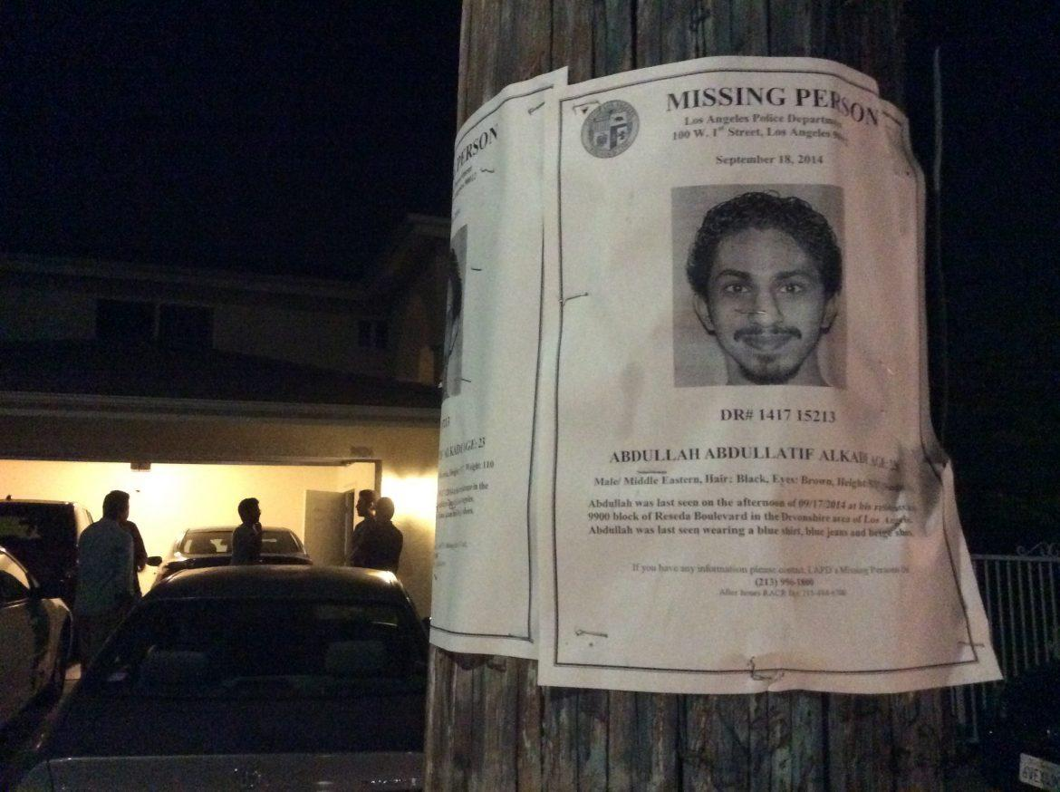 A missing person's flier for California State University, Northridge, student Adbullah Alkadi is attached to a pole outside of his home in Northridge. Friends gathered friday night at the home of the student to mourn his death. Michael J. Arvizu/The Sundial.