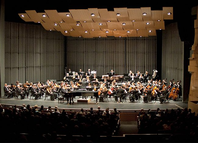The London Philharmonic orchestra conducted by Vladimir Jurowski and played with a distinguished pianist Jean-Efflam Bavouzet on Friday, Oct. 10, 2014 at the Valley Performing Arts Center in Northridge, Calif. Photo Credit: David J. Hawkins/ The Sundial