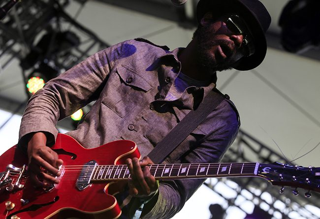 Gary Clark Jr. performs on stage at the Coachella Valley Music and Arts Festival in Indio, California, on Friday, April 13. Photo Courtesy: MCT