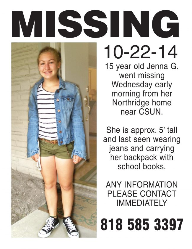 Jenna Grant, a 10th grader at Cleveland High School, was believed to have run away from her home near Zelzah Avenue and Prairie Street at 5:30 Wednesday morning.