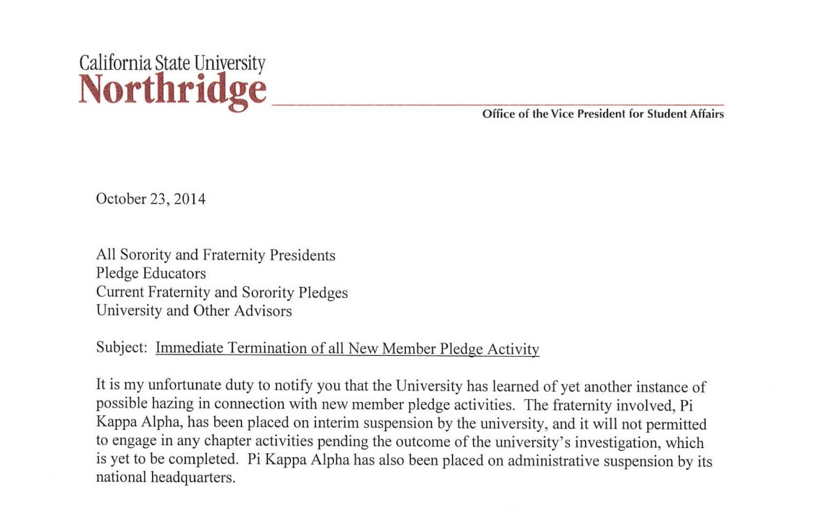 All CSUN pledge activities stopped following possible Pi Kappa Alpha hazing incident