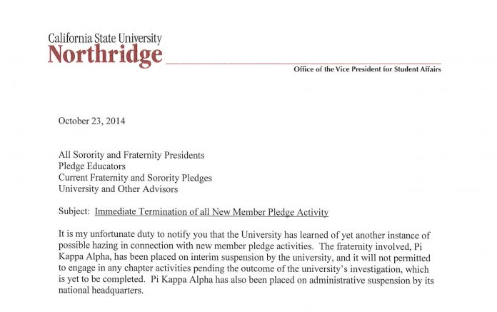 All Csun Pledge Activities Stopped Following Possible Pi Kappa Alpha
