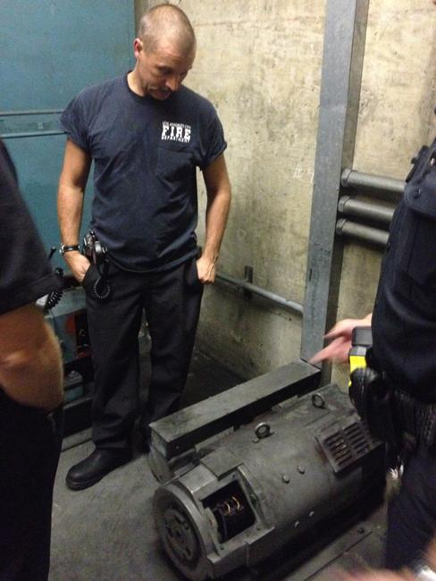 Los Angeles Fire Dept. Station 70 responded to the basement of the Oviatt Library where the main elevator motor shorted out according to Lieutenant Mark Benavidez of CSUN PD. There were people inside the elevator at the time, however they were safely evacuated. Photo Credit: Andrew Martinez / Editor In Chief