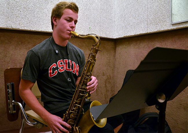 Jordan Leicht, a freshman jazz major practices on his own for about two and a half hours a day, not including rehearsals. He has his own combo band and participates in a big jazz band as well. Photo Credit: Vince Nguyen/ The Sundial