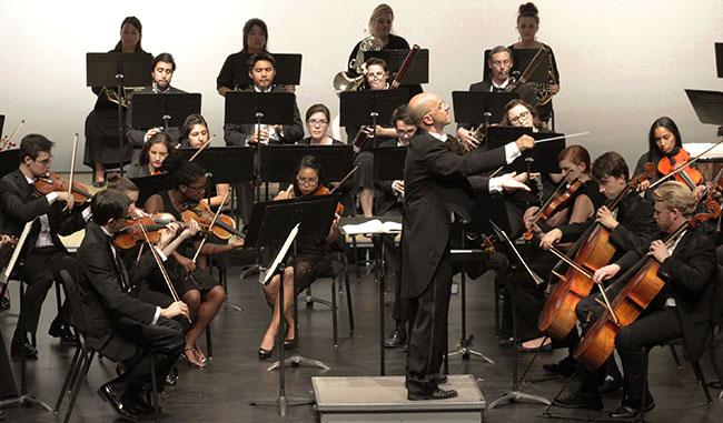 """The CSUN Symphony orchestra performs """"Carnival of Venice"""" on Oct.1, 2014 at the Plaza del Sol. Photo Credit: Luis Garcia/Contributor"""