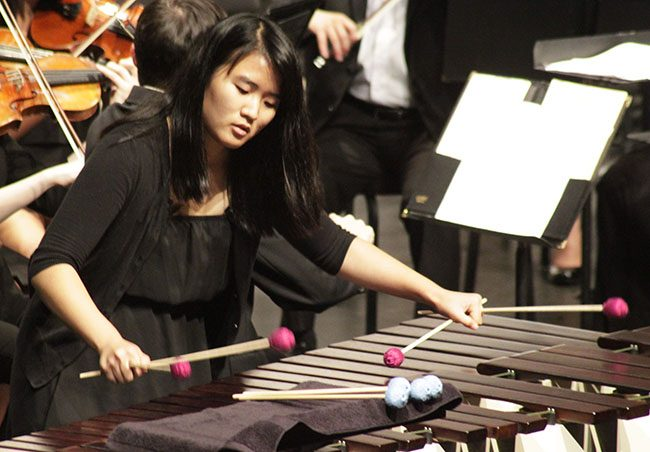 Percussionist Jieun Chung performs one of two solos during the