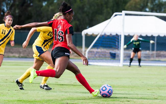 Leandra Walker gets an assist in the second half off of Camille Watson's goal, to give the Matadors a 3-2 lead. Photo credit:Kelly Rosales/ Contributor