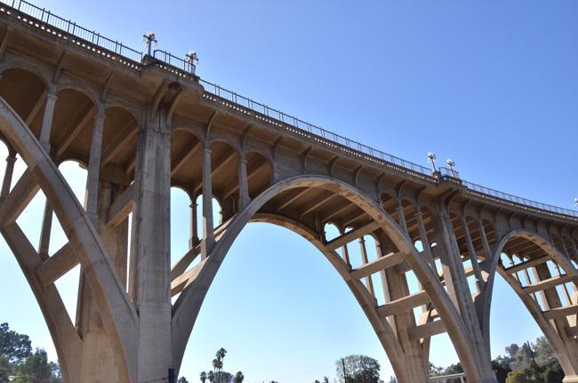 A Pasadena bridge along Colorado Street over the Aroyo Seco river bed is known as