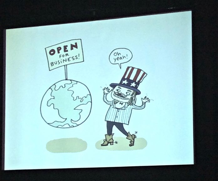 Stephanie McMillan, award-winning journalist and political cartoonist, elaborated on everything wrong with capitalists in a slideshow presentation featuring the colorful commentary in her political cartoons. Michael Erazo/The Sundial.