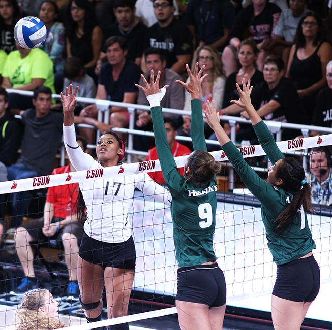 Junior+Cieana+Stinson+attacks+the+ball+for+the+Matadors+during+their+home+opener+against+Hawai%27i+Rainbow+Wahine+on+Oct.+10%2C+2014.+Stinson+recorded+12+kills+and+31+total+attacks+for+a+hitting+percentage+of+.194.+Photo+Credit%3A+Trevor+Stamp%2F+Senior+Photographer