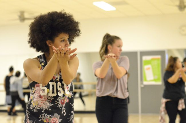 Members of the CSUN Hip-Hop Club practice a dance routine in the Motivation Studio at the SRC. Club members cherish the relationships they form with one another and the happiness they gain from performing.