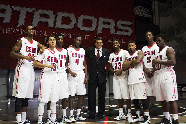 Trevor Stamp/ Senior Photographer  Out of eight new freshmen to join the CSUN men's basketball team this season, six have yet to dress for a game. the athletic department elected to sit 'several' players due to potential violations of team rules and university policies.