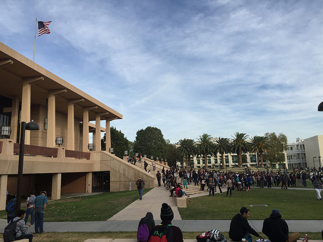 The Oviatt Library was evacuated briefly Monday afternoon following a fire alarm. Students returned shotly after it was determined the building was clear. David Hawkins / The Sundial